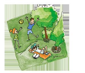 dessin d'un parc